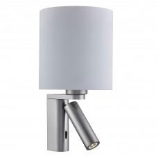 Adjustable Wall - 2 Light Wall Bracket, Satin Silver, White Glass Shade