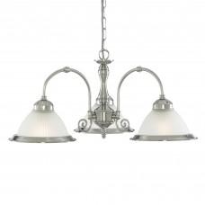 American Diner - 3 Light Ceiling, Satin Silver, Acid Glass