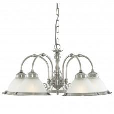 American Diner - 5 Light Ceiling, Satin Silver, Acid Glass