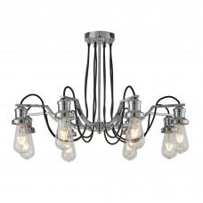 Olivia 8 Light Ceiling, Black Braided Fabric Cable, Chrome