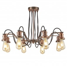 Olivia 8 Light Ceiling, Black Braided Fabric Cable, Antique Copper