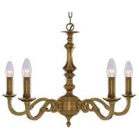 Malaga - 5 Light Ceiling, Antique Brass (No Glass)