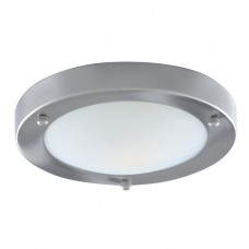 Bathroom Ip44 1 Light - 31Cm Satin Silver Domed White Glass Flush