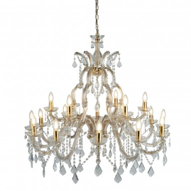 Marie Therese - 18 Light Chandelier, Polished Brass, Clear Crystal