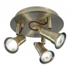 Eros - 3 Light Spotlight Disc, Antique Brass