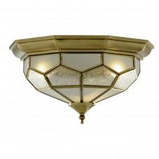 Flush Antique Brass Leaded Ceiling Fitting 29Cm