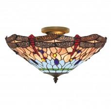 Dragonfly - 1 Light Semi Flush Ceiling, Antique Brass, Tiffany Glass