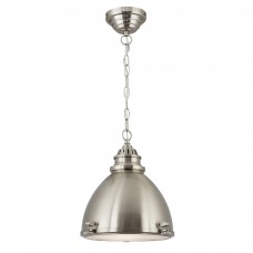 Industrial Pendant, - 1 Light Satin Nickel Dome With Frosted Glass Diffuser