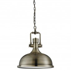 Industrial Pendant - 1 Light Pendant, Antique Brass, Frosted Glass