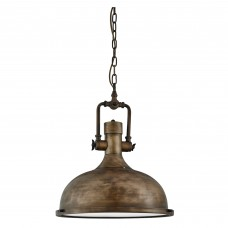 Industrial Pendant - 1 Light Pendant, Black Gold, Frosted Glass