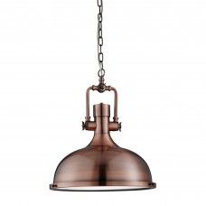 Industrial Pendant - 1 Light Pendant, Antique Copper, Frosted Glass