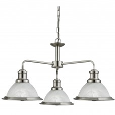 Bistro - 3 Light Ceiling, Satin Silver, Marble Glass