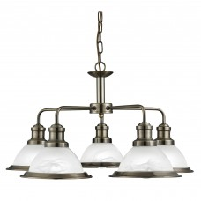 Bistro - 5 Light Ceiling, Antique Brass, Marble Glass