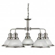 Bistro - 5 Light Ceiling, Satin Silver, Marble Glass