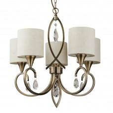 Alberto 5 Light Pendant, Antique Brass, Clear Crystal Drops, Linen Shades
