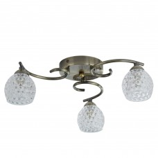 Minnie 3 Light Ceiling Flush, Antique Brass, Dimpled Clear Glass Shades