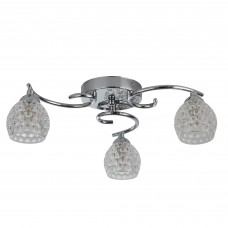 Minnie 3 Light Ceiling Flush, Chrome, Dimpled Clear Glass Shades
