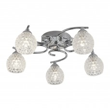 Minnie 5 Light Ceiling Flush, Chrome, Dimpled Clear Glass Shades