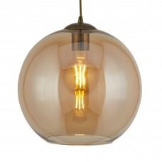 Balls 1 Light Round Pendant (25Cm Dia), Amber Glass, Antique Brass