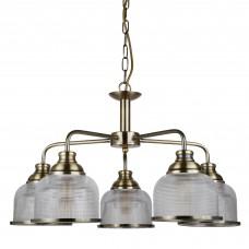Bistro Ii - 5 Light Ceiling, Antique Brass, Halophane Glass