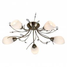 Gardenia 5 Light Antique Brass Semi-Flush Fitting Crystal Leaf White Glass