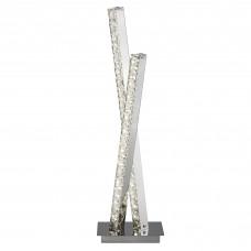 Clover 2 Light Led Column Table Lamp, Clear Crystal Trim, Chrome