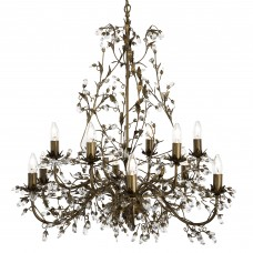 Almandite - 12 Light Ceiling, Brown Gold Finish With Leaf Dressing And Clear Crystal Deco