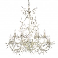 Almandite - 12 Light Ceiling, Cream Gold Finish With Leaf Dressing And Clear Crystal Deco