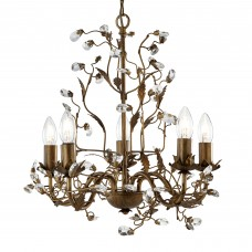 Almandite - 5 Light Ceiling, Brown Gold Finish With Leaf Dressing And Clear Crystal Deco