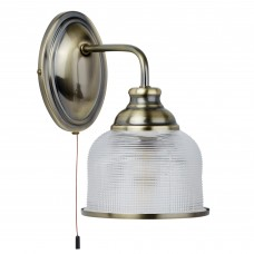 Bistro Ii - 1 Light Wall Bracket, Antique Brass, Halophane Glass