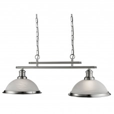Bistro - 2 Light Ceiling Bar, Satin Silver, Marble Glass
