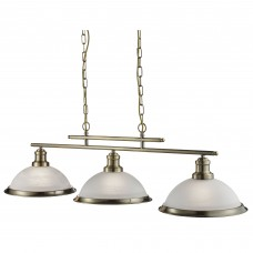 Bistro - 3 Light Ceiling Bar, Antique Brass, Marble Glass