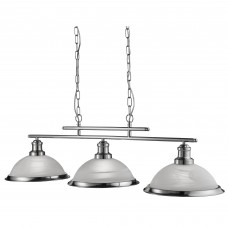 Bistro - 3 Light Ceiling Bar, Satin Silver, Marble Glass