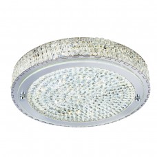 Vesta Led Ceiling Flush (Dia 30Cm), Chrome, Clear Crystal Centre Deco