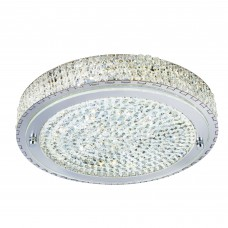 Vesta Led Ceiling Flush (Dia 40Cm), Chrome, Clear Crystal Centre Deco