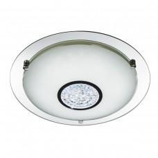 Led Flush - 36Xled, Chrome, Mirror Halo, White Glass Shade & Crystal Inner Deco Dia 41Cm