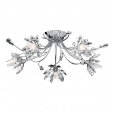 Hibiscus - 5 Light Flush Ceiling Chrome , Clear Glass