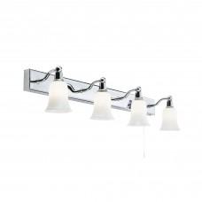 Belvue Bathroom - Ip44 (G9 Led) 4 Light Wht Shade Wall Light Bar