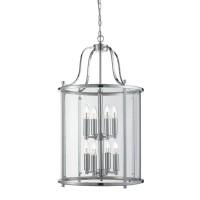 Victorian Lantern, 8 Light Chrome, Clear Glass