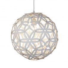 Avalon 1 Light Large Wood Pendant (50Cm Dia), White