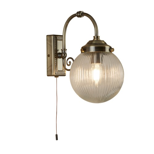 Belvue 1 Light Bathroom Ip44 Wall Light, Clear Globe Shade, Antique ...