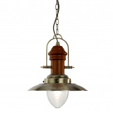 Fisherman 1 Light Pendant - Antique Brass With Dark Wood Finish