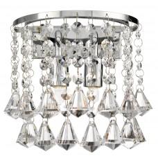 Hanna Chrome 2 Light Round Wall Bracket - Pyramid Drops