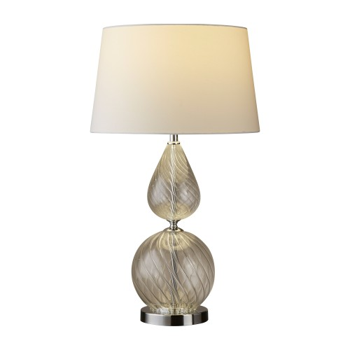 Derby Table Lamp Clear Ribbed Glass Base With White