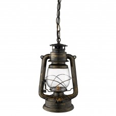Hurricane  - 1 Light Miners Lantern Pendant, Black Gold With Hurricane Glass Shade