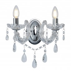Marie Therese - 2 Light Wall Bracket, Chrome, Clear Crystal Glass