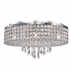 Orion - 9 Light Ceiling Flush, Chrome With Clear Crystal Glass Button Inserts & Drops