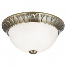 Flush - 2 Light Flush, Antique Brass, Ridge Detailed Trim With Frosted Glass Shade Dia 28Cm