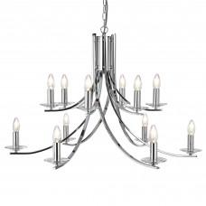 Ascona - 12 Light Ceiling, Chrome Twist Frame With Clear Glass Sconces