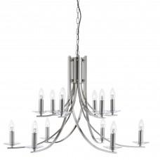 Ascona - 12 Light Ceiling, Satin Silver Twist Frame, Clear Glass Sconces